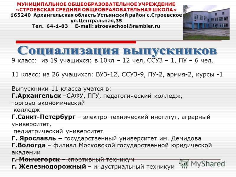МУНИЦИПАЛЬНОЕ ОБЩЕОБРАЗОВАТЕЛЬНОЕ УЧРЕЖДЕНИЕ «СТРОЕВСКАЯ СРЕДНЯЯ ОБЩЕОБРАЗОВАТЕЛЬНАЯ ШКОЛА» 165240 Архангельская область Устьянский район с.Строевское ул.Центральная,35 Тел. 64-1-83 E-mail: stroevschool@rambler.ru 9 класс: из 19 учащихся: в 10кл – 12