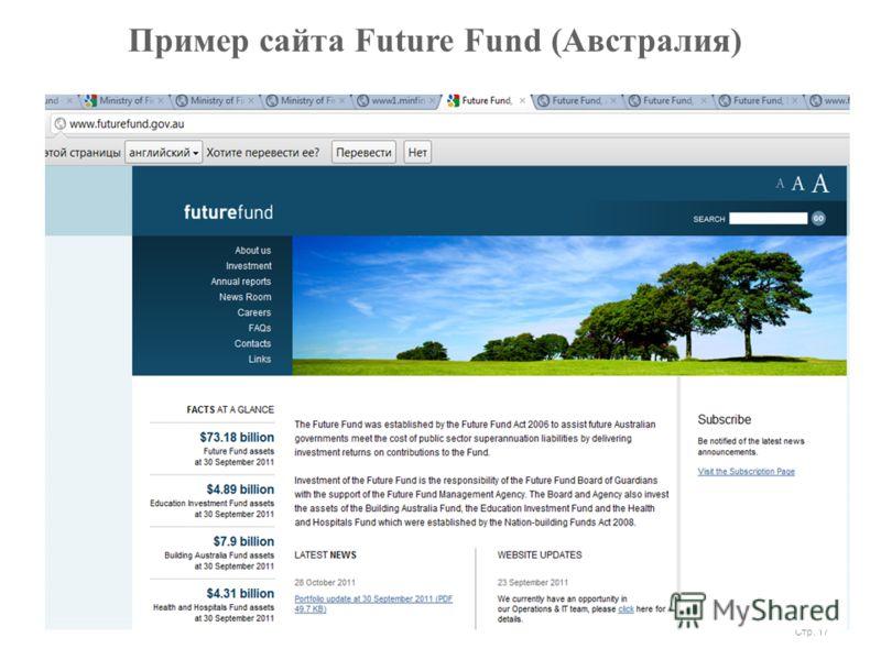 Пример сайта Future Fund (Австралия) Стр. 17