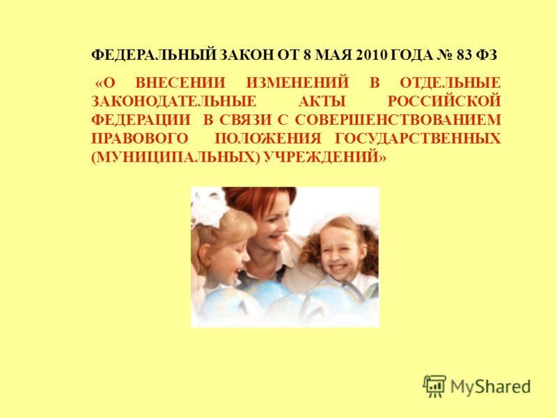 ФЕДЕРАЛЬНЫЙ ЗАКОН ОТ 8 МАЯ 2010 ГОДА 83 ФЗ «О ВНЕСЕНИИ ИЗМЕНЕНИЙ В ОТДЕЛЬНЫЕ ЗАКОНОДАТЕЛЬНЫЕ АКТЫ РОССИЙСКОЙ ФЕДЕРАЦИИ В СВЯЗИ С СОВЕРШЕНСТВОВАНИЕМ ПРАВОВОГО ПОЛОЖЕНИЯ ГОСУДАРСТВЕННЫХ (МУНИЦИПАЛЬНЫХ) УЧРЕЖДЕНИЙ»