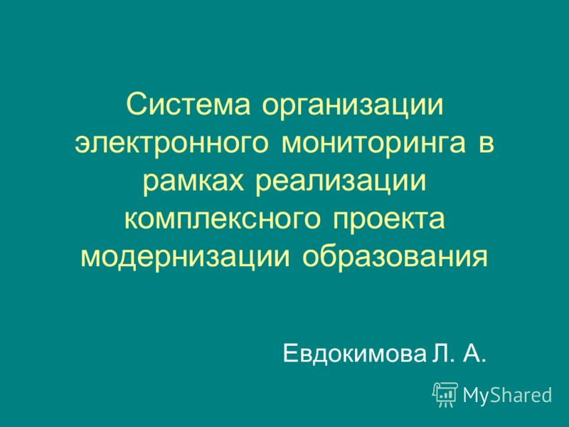 Система организации электронного мониторинга в рамках реализации комплексного проекта модернизации образования Евдокимова Л. А.
