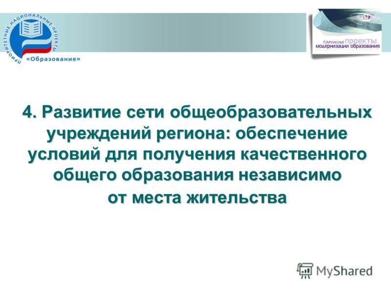 4. Развитие сети общеобразовательных учреждений региона: обеспечение условий для получения качественного общего образования независимо от места жительства