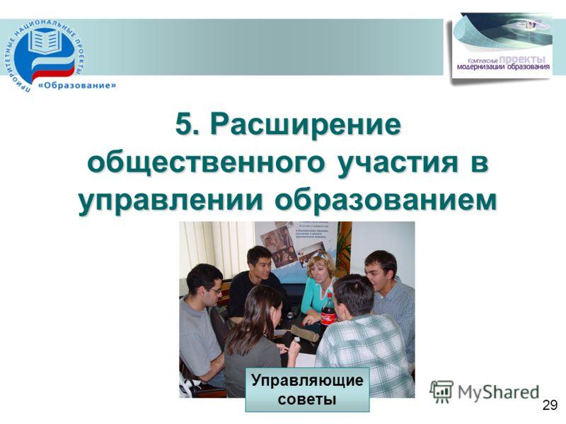 5. Расширение общественного участия в управлении образованием 29 Управляющие советы