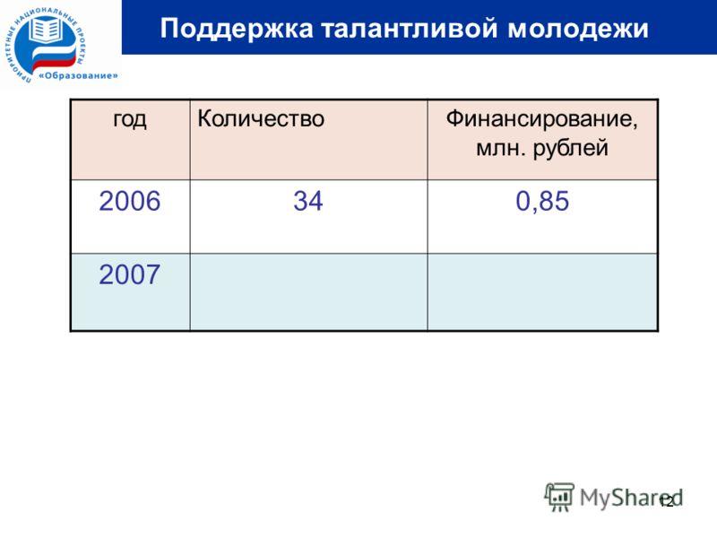 12 Поддержка талантливой молодежи годКоличествоФинансирование, млн. рублей 2006340,85 2007