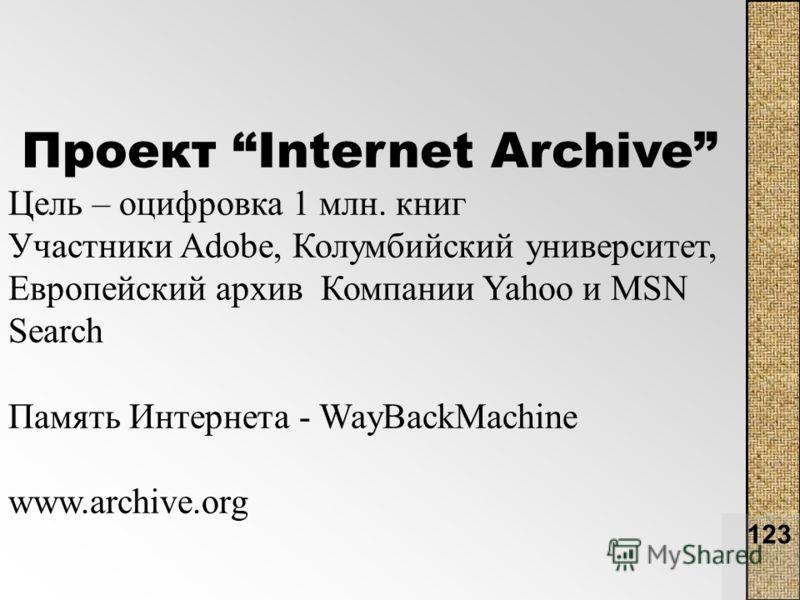 123 Проект Internet Archive Цель – оцифровка 1 млн. книг Участники Adobe, Колумбийский университет, Европейский архив Компании Yahoo и MSN Search Память Интернета - WayBackMachine www.archive.org