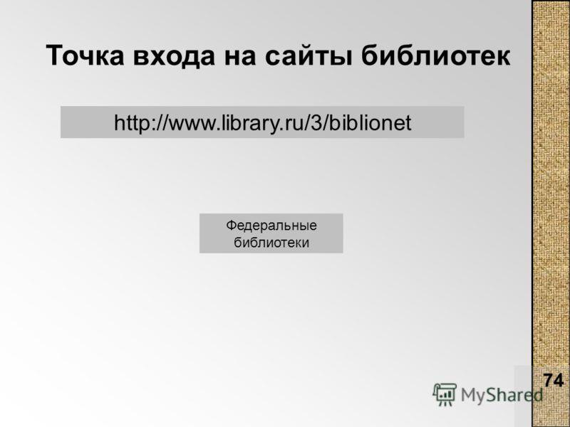 74 Точка входа на сайты библиотек http://www.library.ru/3/biblionet Федеральные библиотеки