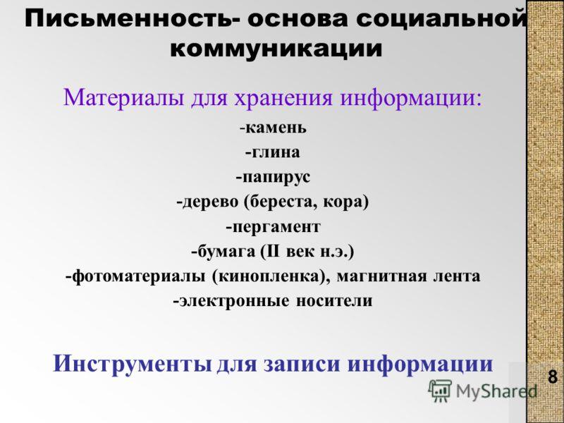 8 Письменность- основа социальной коммуникации Материалы для хранения информации: -камень -глина -папирус -дерево (береста, кора) -пергамент -бумага (II век н.э.) -фотоматериалы (кинопленка), магнитная лента -электронные носители Инструменты для запи