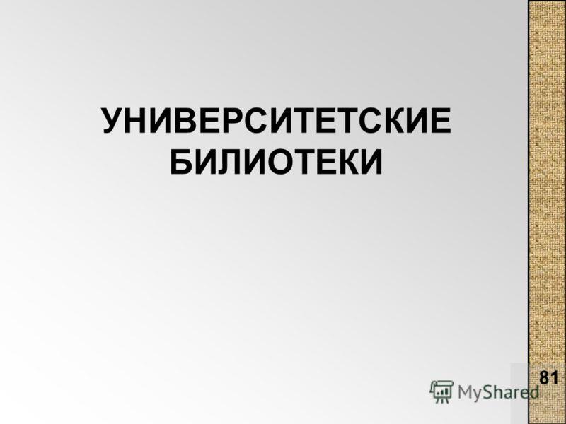 81 УНИВЕРСИТЕТСКИЕ БИЛИОТЕКИ