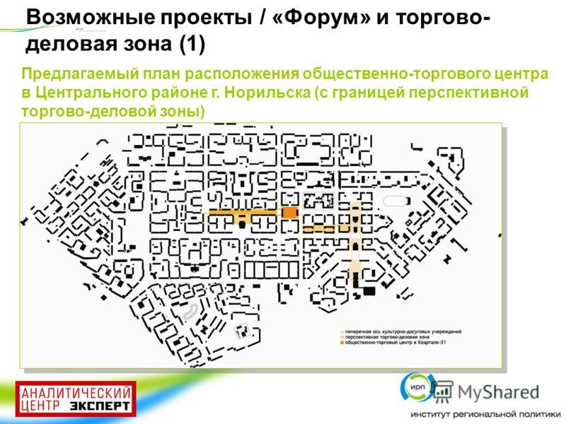 Предлагаемый план расположения общественно-торгового центра в Центрального районе г. Норильска (с границей перспективной торгово-деловой зоны) Возможные проекты / «Форум» и торгово- деловая зона (1)