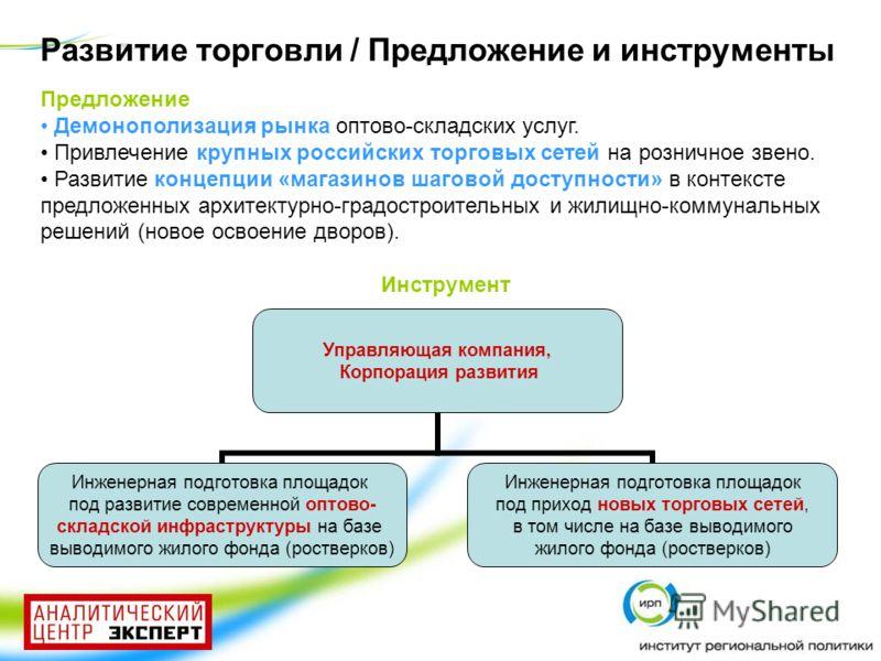 Предложение Демонополизация рынка оптово-складских услуг. Привлечение крупных российских торговых сетей на розничное звено. Развитие концепции «магазинов шаговой доступности» в контексте предложенных архитектурно-градостроительных и жилищно-коммуналь