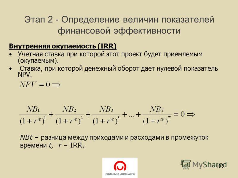 Этап 2 - Определение величин показателей финансовой эффективности Внутренняя окупаемость (IRR) Учетная ставка при которой этот проект будет приемлемым (окупаемым). Ставка, при которой денежный оборот дает нулевой показатель NPV. 103 NBt – разница меж
