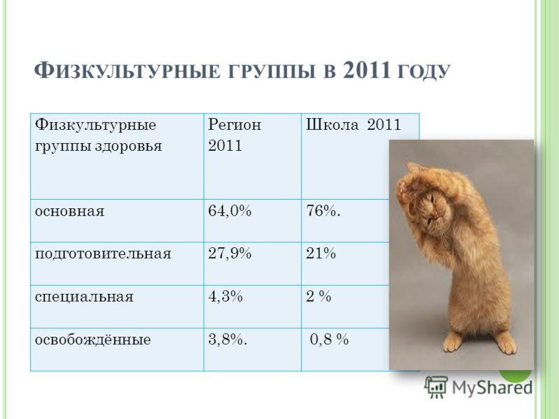 Ф ИЗКУЛЬТУРНЫЕ ГРУППЫ В 2011 ГОДУ Физкультурные группы здоровья Регион 2011 Школа 2011 основная64,0%76%. подготовительная27,9%21% специальная4,3%2 % освобождённые3,8%. 0,8 %