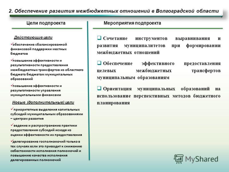 2. Обеспечение развития межбюджетных отношений в Волгоградской области Сочетание инструментов выравнивания и развития муниципалитетов при формировании межбюджетных отношений Обеспечение эффективного предоставления целевых межбюджетных трансфертов мун