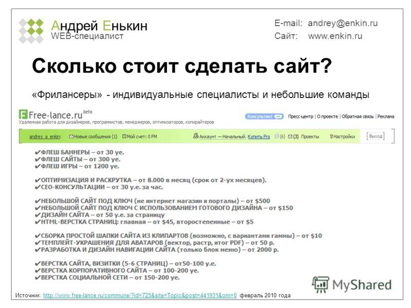 Андрей Енькин WEB-специалист E-mail: andrey@enkin.ru Сайт: www.enkin.ru Сколько стоит сделать сайт? Источник: http://www.free-lance.ru/commune/?id=725&site=Topic&post=441931&om=0 февраль 2010 годаhttp://www.free-lance.ru/commune/?id=725&site=Topic&po
