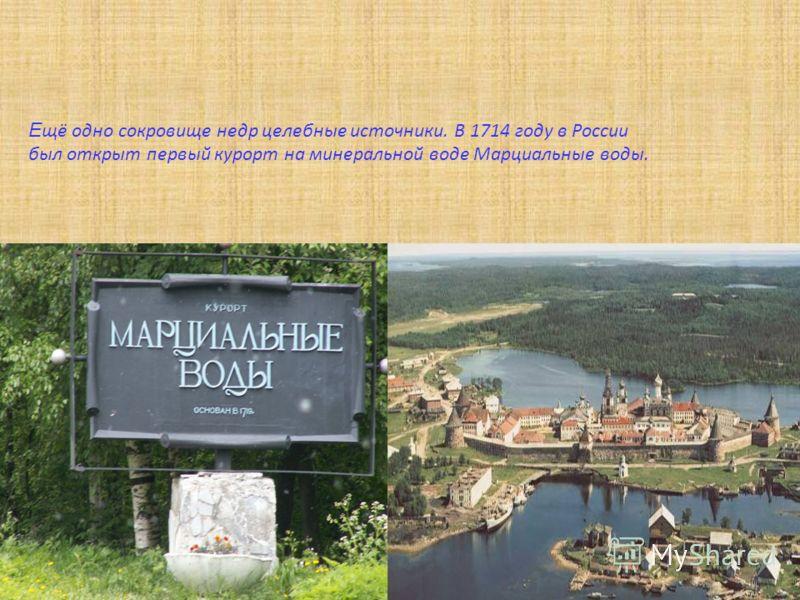 Е щё одно сокровище недр целебные источники. В 1714 году в России был открыт первый курорт на минеральной воде Марциальные воды.