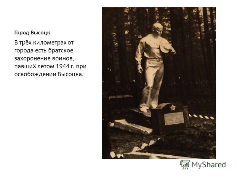 Город Высоцк В июле 1944 г. десантом советских войск Высоцк был освобожден от немецко-фашист с ких войск.