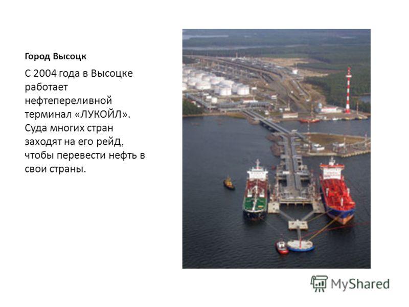Город Высоцк С 80 -х годов 20 века существует порт «Высоцк», он принимает корабли разных стран мира. И днём и ночью трудятся работники порта. В этом порту докером- механизатором работает мой отец.