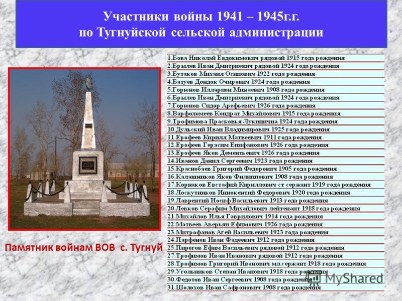 Памятник войнам ВОВ с. Тугнуй Участники войны 1941 – 1945г.г. по Тугнуйской сельской администрации