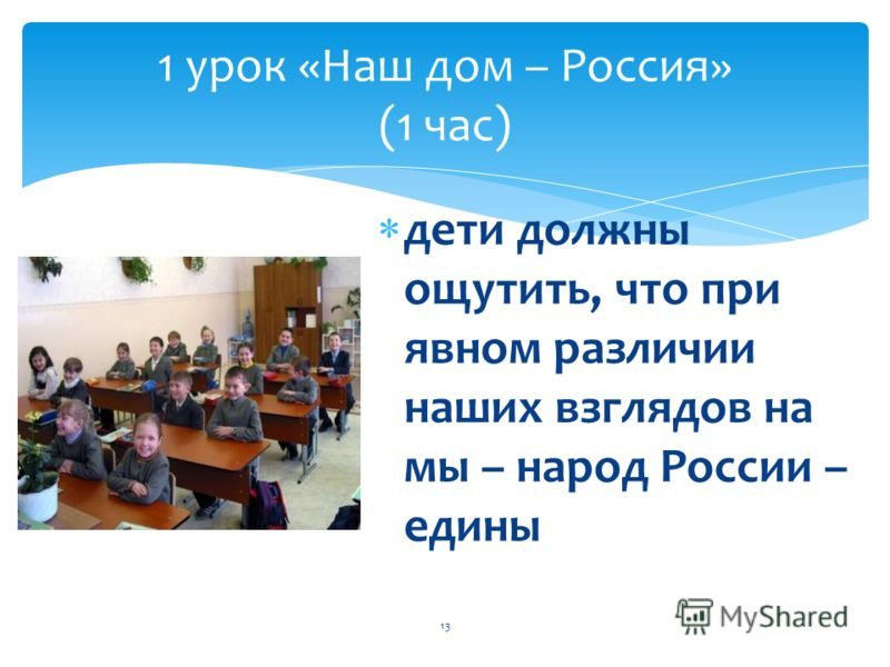 дети должны ощутить, что при явном различии наших взглядов на мы – народ России – едины 13 1 урок «Наш дом – Россия» (1 час)