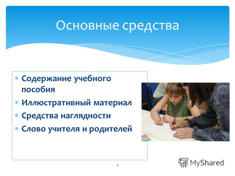 Содержание учебного пособия Иллюстративный материал Средства наглядности Слово учителя и родителей 9 Основные средства