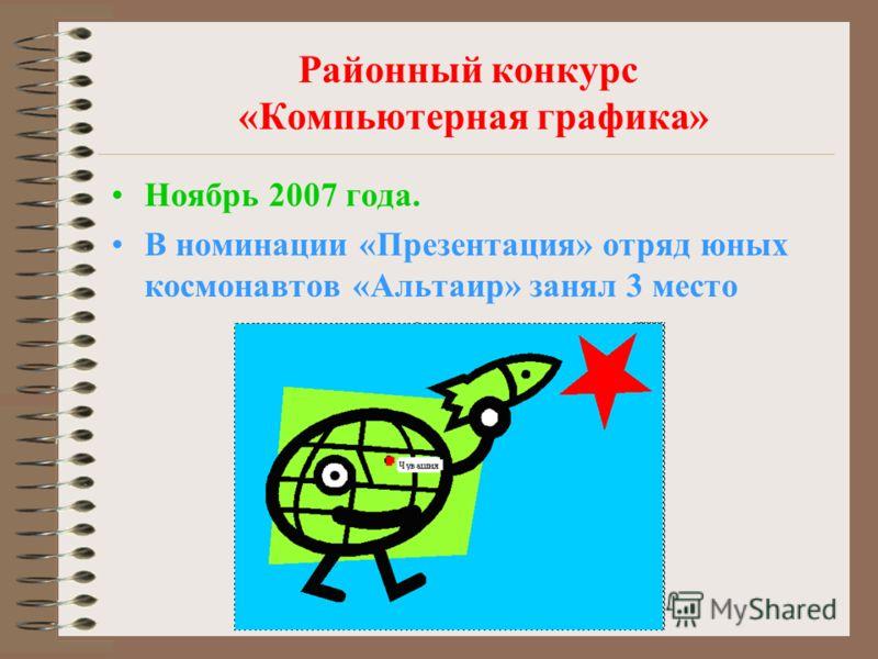 Районный конкурс «Компьютерная графика» Ноябрь 2007 года. В номинации «Презентация» отряд юных космонавтов «Альтаир» занял 3 место