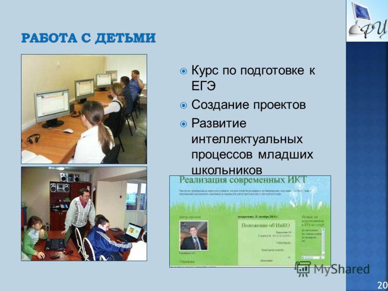 Курс по подготовке к ЕГЭ Создание проектов Развитие интеллектуальных процессов младших школьников 20