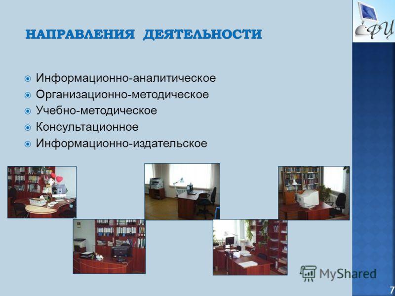Информационно-аналитическое Организационно-методическое Учебно-методическое Консультационное Информационно-издательское 7