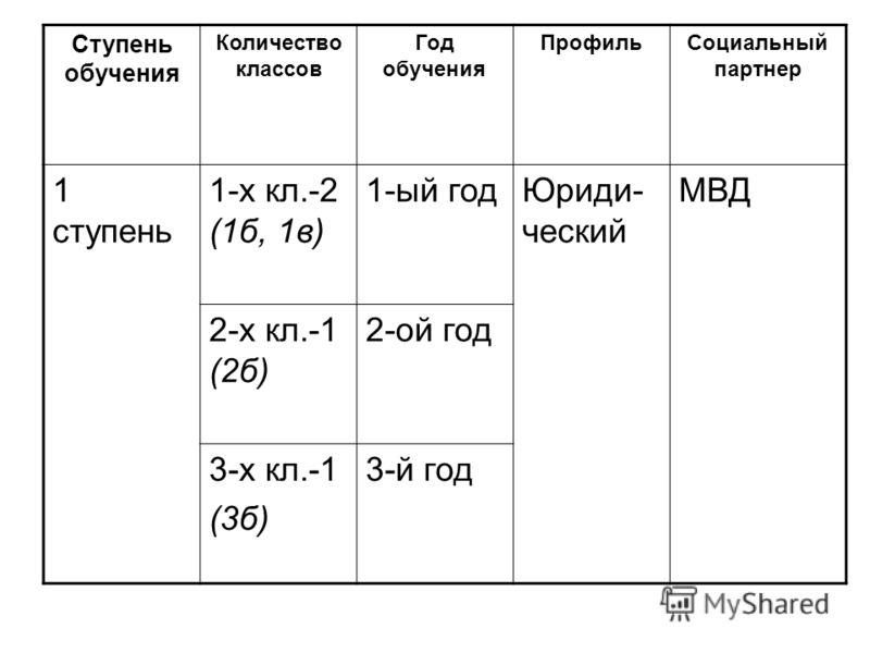 Ступень обучения Количество классов Год обучения ПрофильСоциальный партнер 1 ступень 1-х кл.-2 (1б, 1в) 1-ый годЮриди- ческий МВД 2-х кл.-1 (2б) 2-ой год 3-х кл.-1 (3б) 3-й год