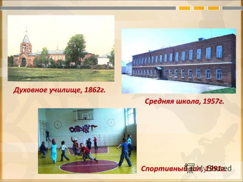 Духовное училище, 1862г. Средняя школа, 1957г. Спортивный зал, 1991г.