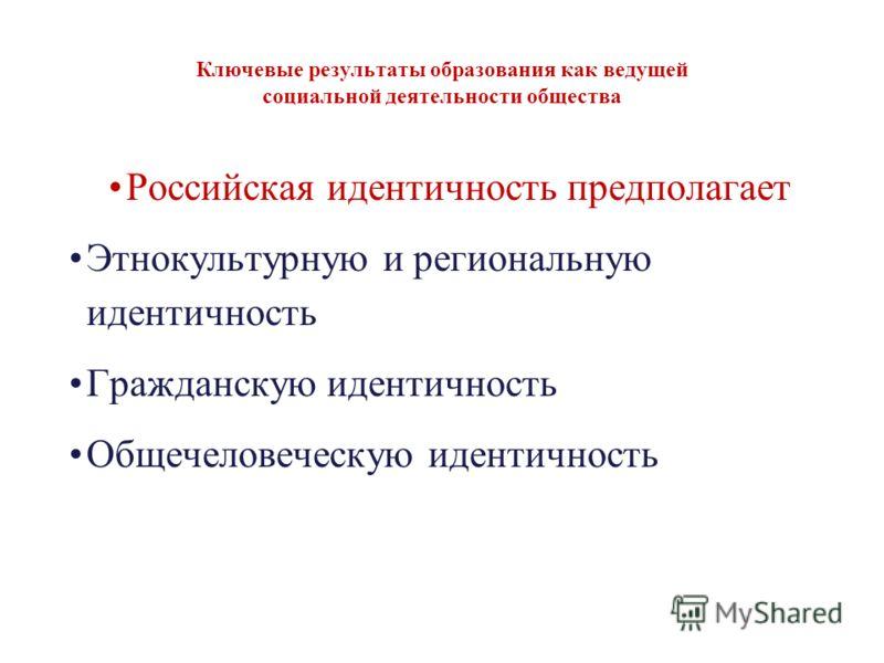 Ключевые результаты образования как ведущей социальной деятельности общества Российская идентичность предполагает Этнокультурную и региональную идентичность Гражданскую идентичность Общечеловеческую идентичность