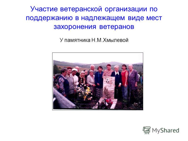 Участие ветеранской организации по поддержанию в надлежащем виде мест захоронения ветеранов У памятника Н.М.Хмылевой