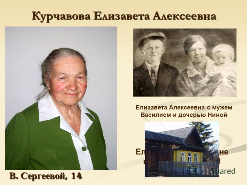 Курчавова Елизавета Алексеевна Елизавета Алексеевна с мужем Василием и дочерью Ниной 15 июля 2008 года Елизавете Алексеевне исполнится 95 лет! В. Сергеевой, 14