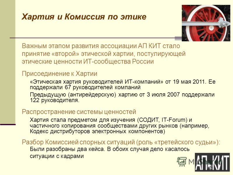 Хартия и Комиссия по этике Важным этапом развития ассоциации АП КИТ стало принятие «второй» этической хартии, постулирующей этические ценности ИТ-сообщества России Присоединение к Хартии «Этическая хартия руководителей ИТ-компаний» от 19 мая 2011. Ее