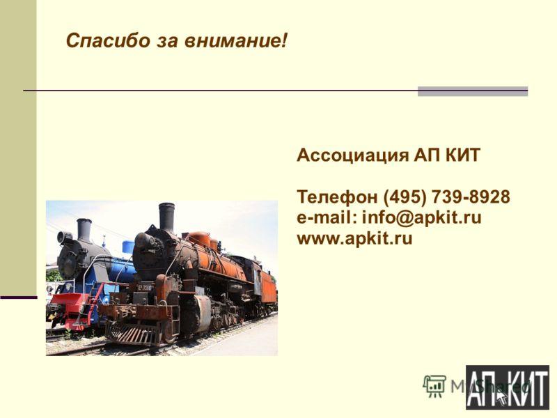 Спасибо за внимание! Ассоциация АП КИТ Телефон (495) 739-8928 e-mail: info@apkit.ru www.apkit.ru