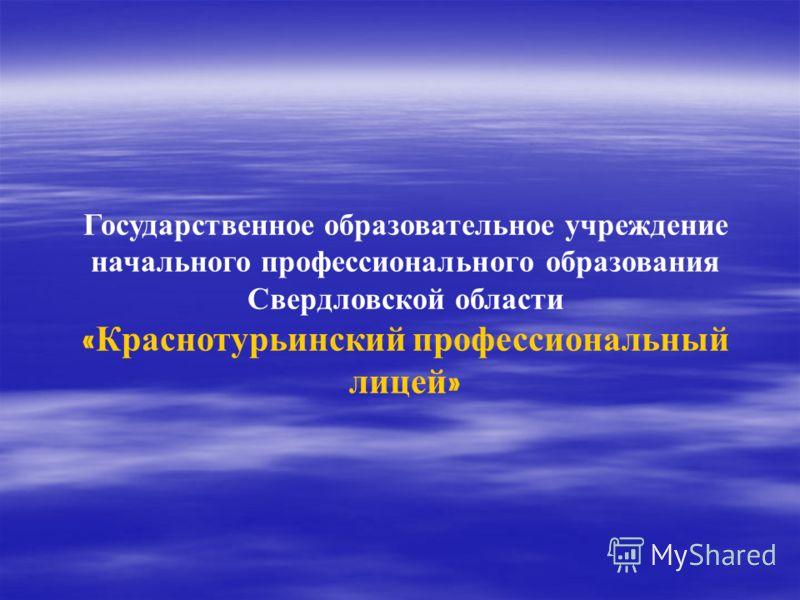 Государственное образовательное учреждение начального профессионального образования Свердловской области « Краснотурьинский профессиональный лицей »