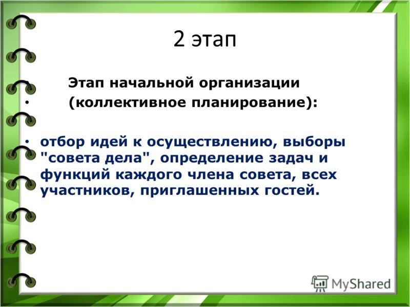 2 этап Этап начальной организации (коллективное планирование): отбор идей к осуществлению, выборы совета дела, определение задач и функций каждого члена совета, всех участников, приглашенных гостей.