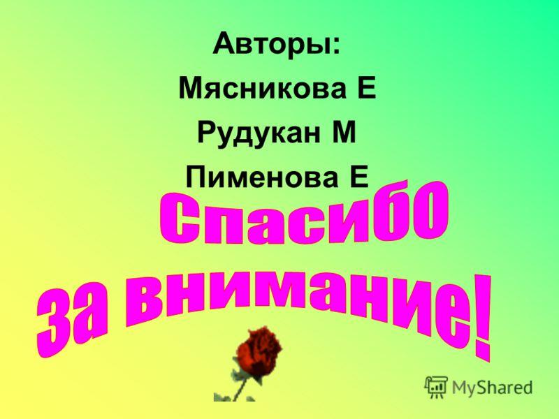 Авторы: Мясникова Е Рудукан М Пименова Е
