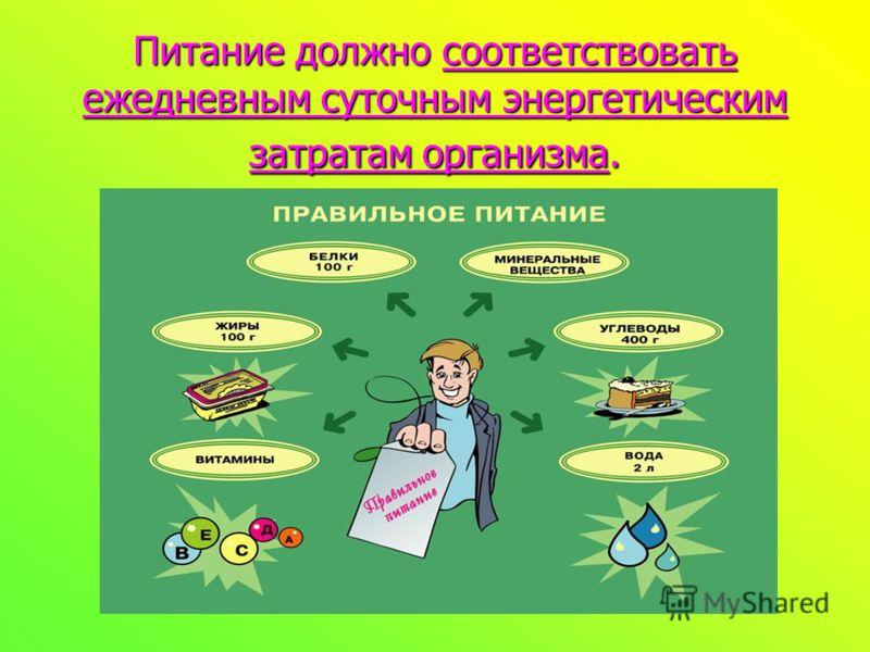 Питание должно соответствовать ежедневным суточным энергетическим затратам организма.