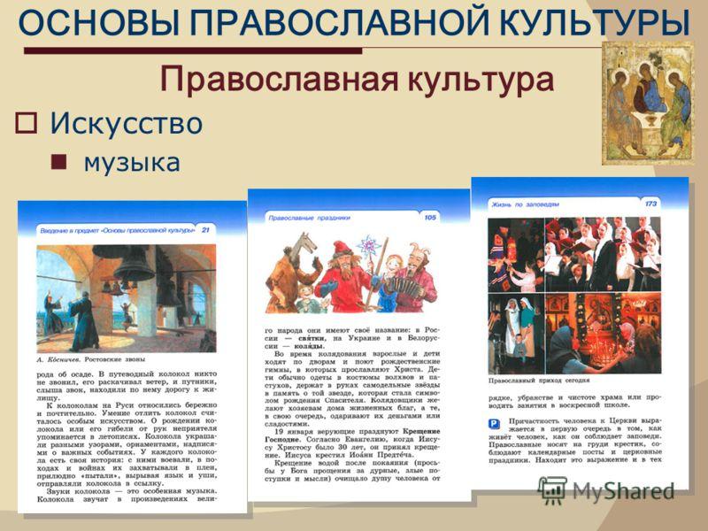 ОСНОВЫ ПРАВОСЛАВНОЙ КУЛЬТУРЫ Православная культура Искусство музыка