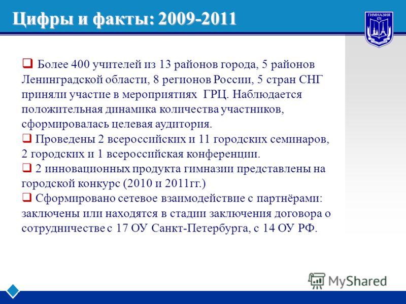 LOGO www.themegallery.com Company Logo Цифры и факты: 2009-2011 Более 400 учителей из 13 районов города, 5 районов Ленинградской области, 8 регионов России, 5 стран СНГ приняли участие в мероприятиях ГРЦ. Наблюдается положительная динамика количества