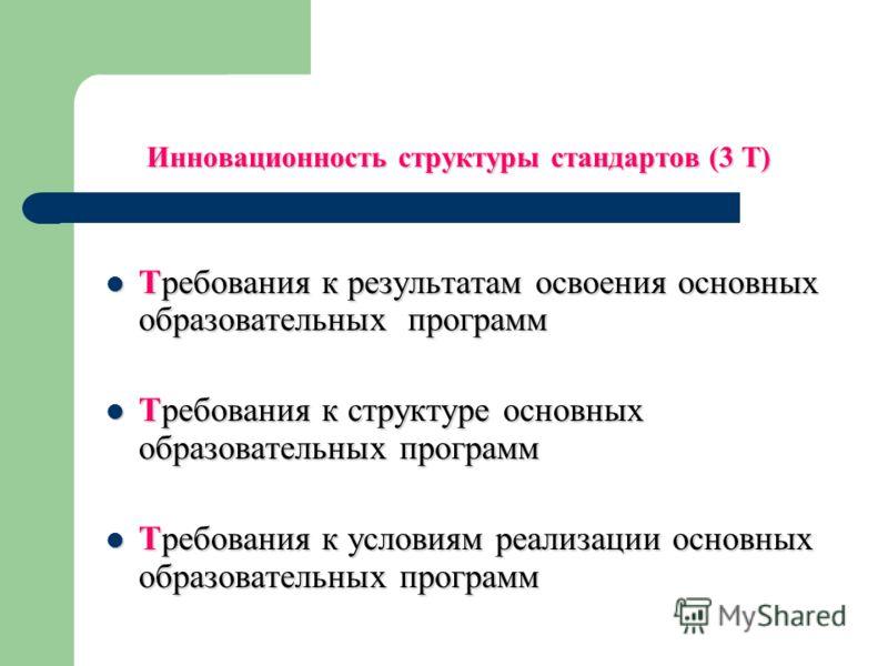Инновационность структуры стандартов (3 Т) Требования к результатам освоения основных образовательных программ Требования к результатам освоения основных образовательных программ Требования к структуре основных образовательных программ Требования к с