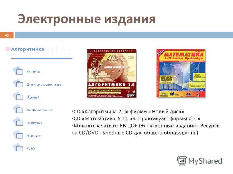 Электронные издания 43 CD «Алгоритмика 2.0» фирмы «Новый диск» CD «Математика, 5-11 кл. Практикум» фирмы «1С» Можно скачать из ЕК ЦОР (Электронные издания - Ресурсы на CD/DVD - Учебные CD для общего образования)