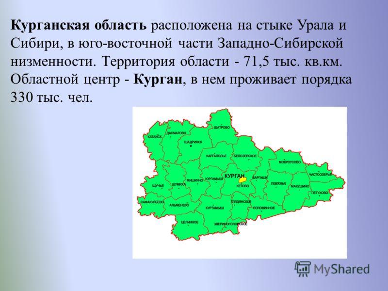 Курганская область расположена на стыке Урала и Сибири, в юго-восточной части Западно-Сибирской низменности. Территория области - 71,5 тыс. кв.км. Областной центр - Курган, в нем проживает порядка 330 тыс. чел.