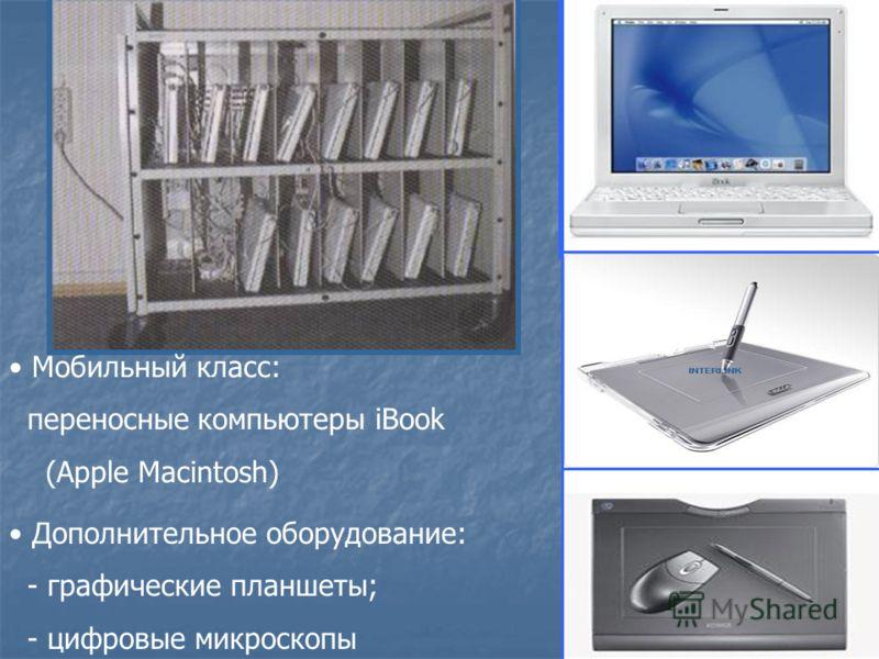 Мобильный класс: переносные компьютеры iBook (Apple Macintosh) Дополнительное оборудование: - графические планшеты; - цифровые микроскопы