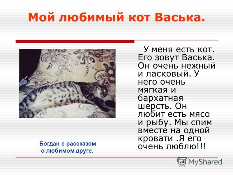 Мой любимый кот Васька. У меня есть кот. Его зовут Васька. Он очень нежный и ласковый. У него очень мягкая и бархатная шерсть. Он любит есть мясо и рыбу. Мы спим вместе на одной кровати.Я его очень люблю!!! Богдан с рассказом о любимом друге.