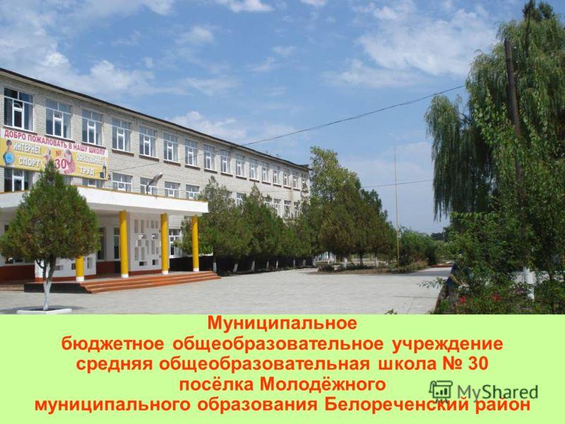 Муниципальное бюджетное общеобразовательное учреждение средняя общеобразовательная школа 30 посёлка Молодёжного муниципального образования Белореченский район