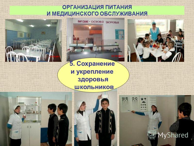 ОРГАНИЗАЦИЯ ПИТАНИЯ И МЕДИЦИНСКОГО ОБСЛУЖИВАНИЯ 5. Сохранение и укрепление здоровья школьников