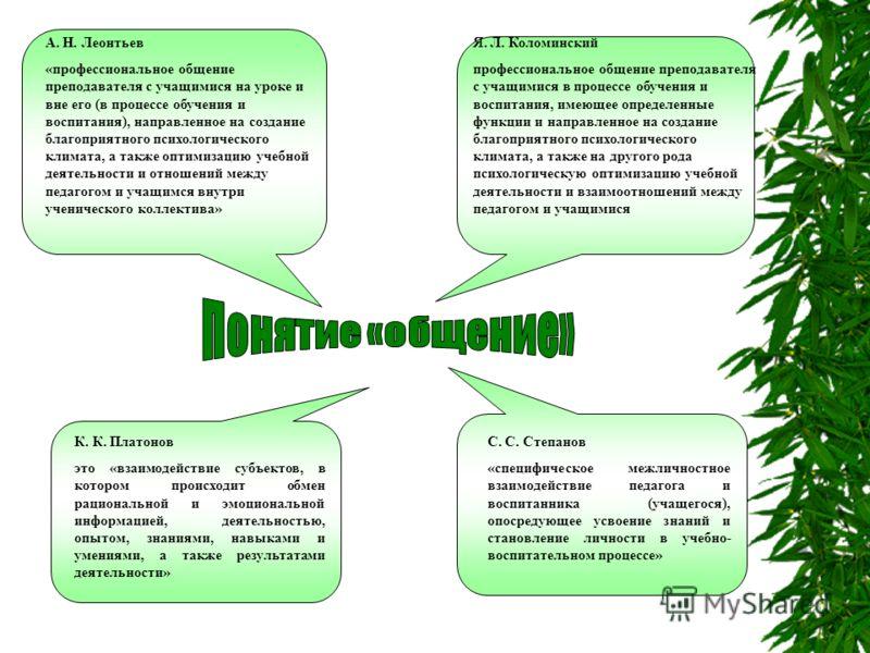 А. Н. Леонтьев «профессиональное общение преподавателя с учащимися на уроке и вне его (в процессе обучения и воспитания), направленное на создание благоприятного психологического климата, а также оптимизацию учебной деятельности и отношений между пед