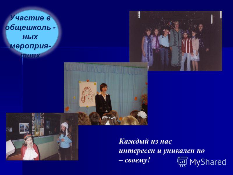 Участие в общешколь - ных мероприя- тиях Каждый из нас интересен и уникален по – своему!