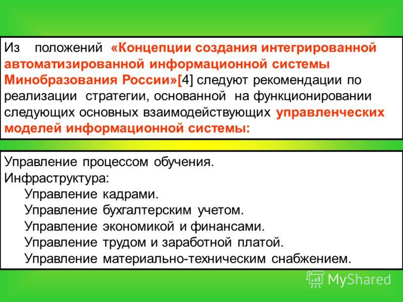 Из положений «Концепции создания интегрированной автоматизированной информационной системы Минобразования России»[4] следуют рекомендации по реализации стратегии, основанной на функционировании следующих основных взаимодействующих управленческих моде