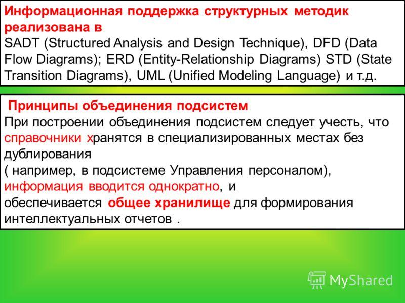 Информационная поддержка структурных методик реализована в SADT (Structured Analysis and Design Technique), DFD (Data Flow Diagrams); ERD (Entity-Relationship Diagrams) STD (State Transition Diagrams), UML (Unified Modeling Language) и т.д. Принципы